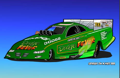 If the Beebe Bros. could return, the Dodge Fever would be awesome. Racing art by Jim M White