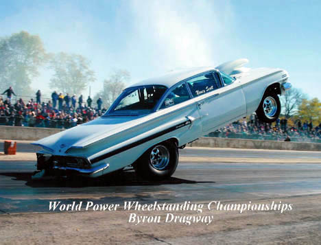 Steve Scott puts 4000 pounds of '60 Chevy into the air at Byron. Photo by Pete Ores