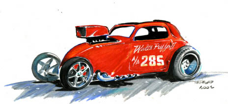 The Walt's Puffer Fiat in watercolor. Racing art by Jeff Teaford