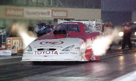 Bruce Sarver again had the Alan Johnson Toyota running with the top flopper teams. Photo by Tim Marshall