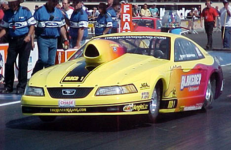 Scott Geoffrion debuting the Hurley Blakeney owned, Bob Panella powered Ford Mustang. Photo by Tim Marshall