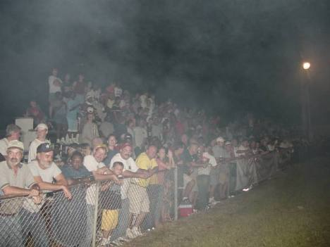 Ware Shoals fans packed both sides of the track. Roger Richards photo