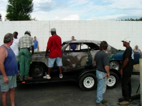 The racer's ride was burned up, but he was OK to race another day. Roger Richards photo