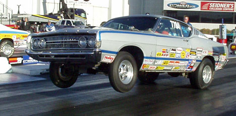 Nice Ford Torino reaches for the sky.