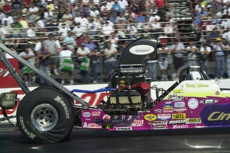 Billy Gibson in the Eric Cindrich alcohol dragster. Photo by Greg Gage