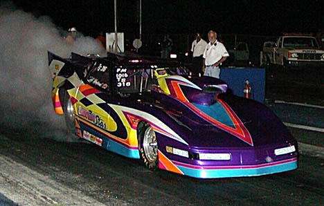 Custom painter Barney Squires was on hand testing the Shooting Star Corvette. Was DNQ but later went 6.89 at 201 in testing. Photo by Stephen Hawes
