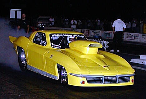 Milt Decker went 6.85 at 201 with unique, 463 cubic inch nitrous car, but was DNQ. Photo by Stephen Hawes