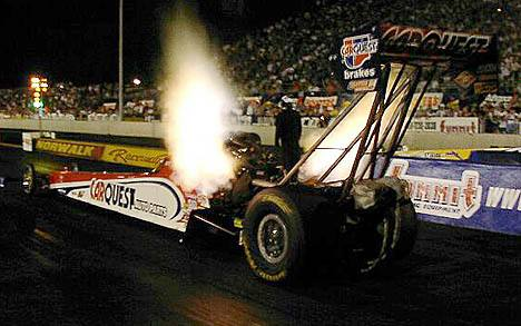 Paul Romine grabbed the number two spot in Top Fuel qualifying. Photo by Vic Cooke