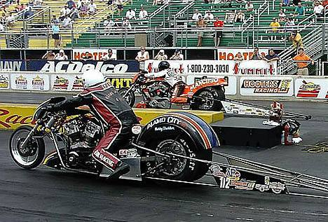 Steve Stordeur lead Nitro Harley qualifying with a record 6.37. Photo by Vic Cooke