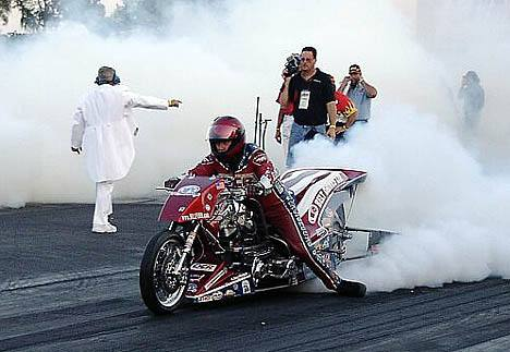 The Nitro Harley burnouts were second to none among the racing categories. Photo by Vic Cooke