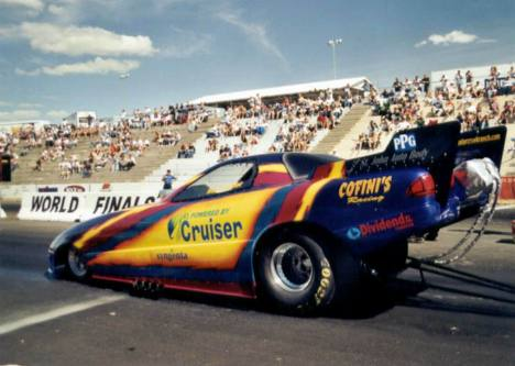 Could they have mounted the body any taller. Number 8 qualifier in Alcohol Funny Car, Royce Taylor. Photo by David Hapgood