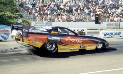 Ken Kraus set the alky funny car ranks on fire at Spokane. Photo by Nolan Hibbard