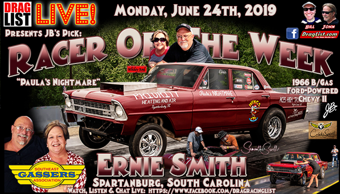 Ernie Smith is JB's Pick for Racer of the Week: June 24th